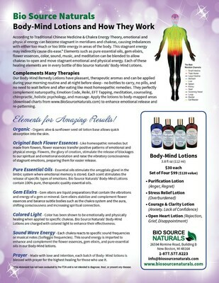 Bio Source Naturals Body-Mind Lotion Set Product Bulletin