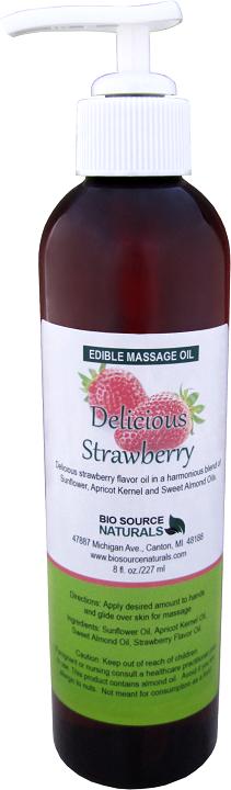 Edible Delicious Strawberry Massage Oil 8 fl oz (227 ml)