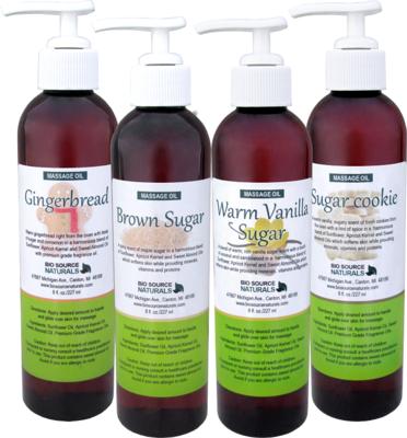 Sugar Collection Massage Oils 8 fl oz (227 ml) 4 Pack