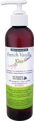 ​Edible (Lickable, Kissable) French Vanilla Kiss Massage Oil 8 fl oz (227 ml)