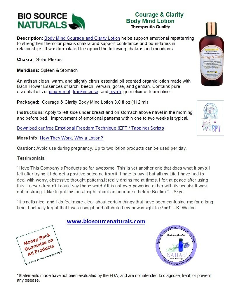 Courage & Clarity Body-Mind Lotion Product Bulletin