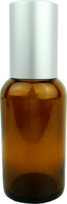 1 fl oz (30 ml) Amber Glass Roll-On Bottle with Silver Cap