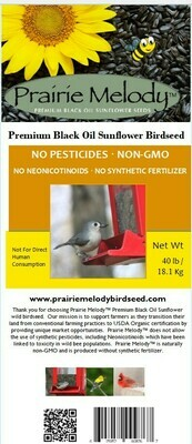 **** FREE SHIPPING **** 40 lb bag Premium Black Oil Sunflower Bird seed, Pesticide Free