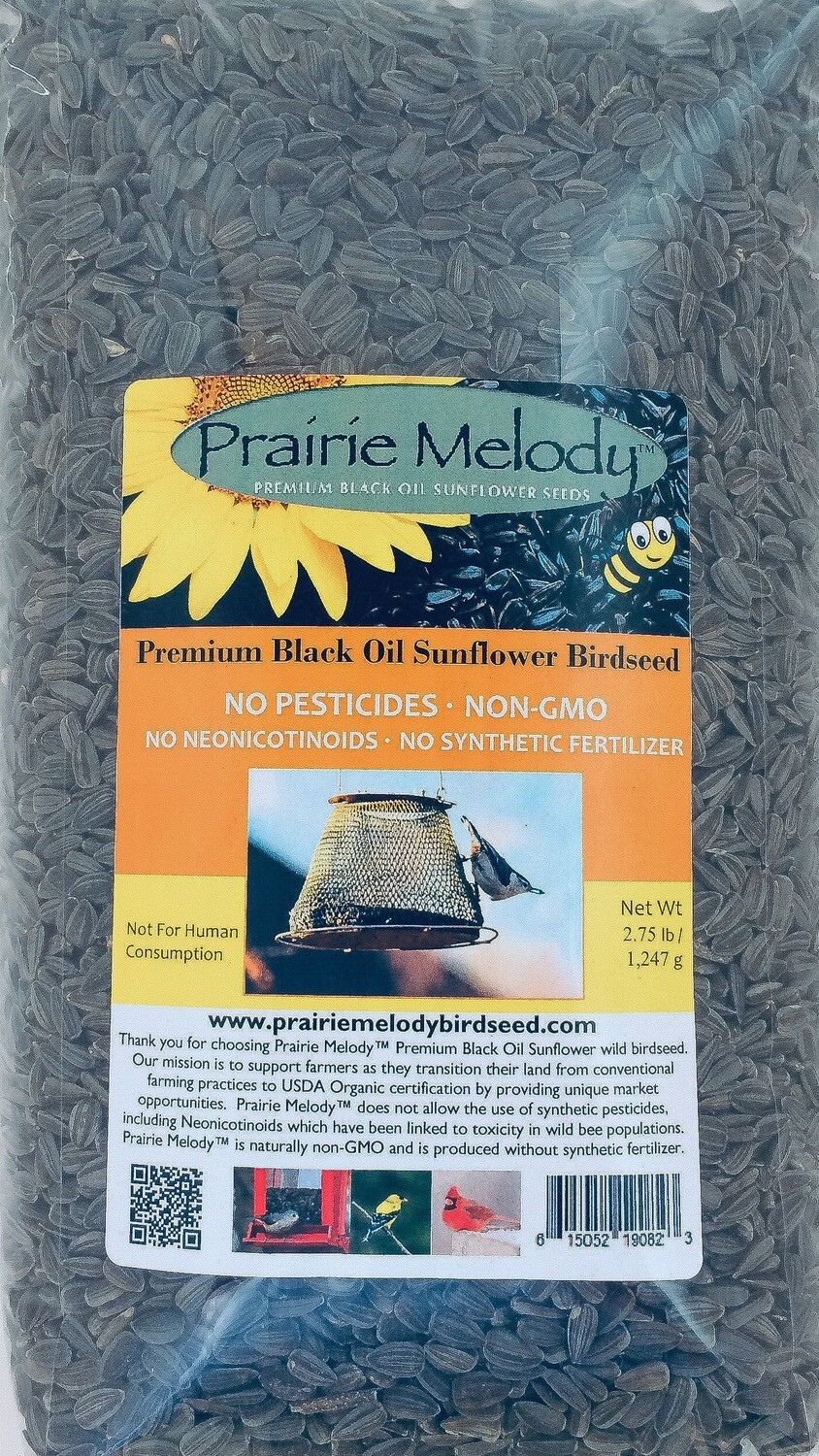 ** FREE SHIPPING ** Premium Black Oil Sunflower Birdseed, Pesticide Free - 2.75 lbs Clear Bag
