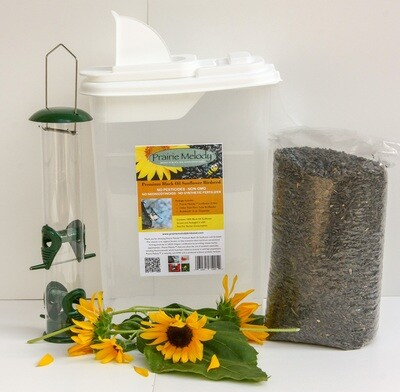 **** FREE SHIPPING **** Deluxe Gift Set - 5 lbs Premium Sunflower Birdseed, Deluxe Tube Feeder, 16-qt Pour Spout Container