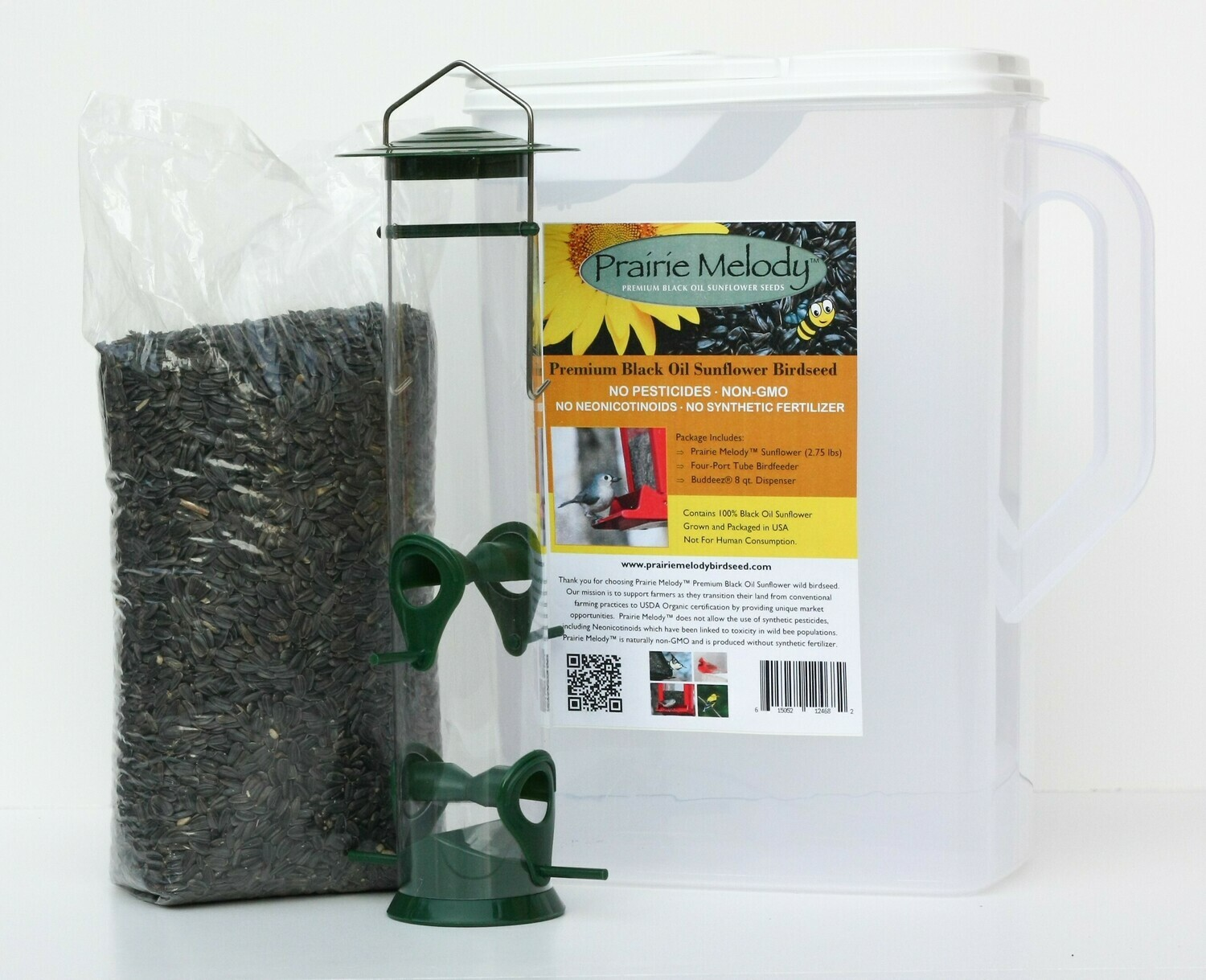 ** FREE SHIPPING ** Classic Gift Set - Pesticide Free 2.75 lb Sunflower Birdseed, Basic Tube Feeder, 8 qt. Pour Spout Container