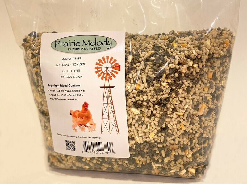 ** FREE SHIPPING ** Premium Blend Prairie Melody Poultry Winter Feed - Feed+Scratch+Sunflower - Gluten Free, NonGMO, Solvent Free - 5 lb