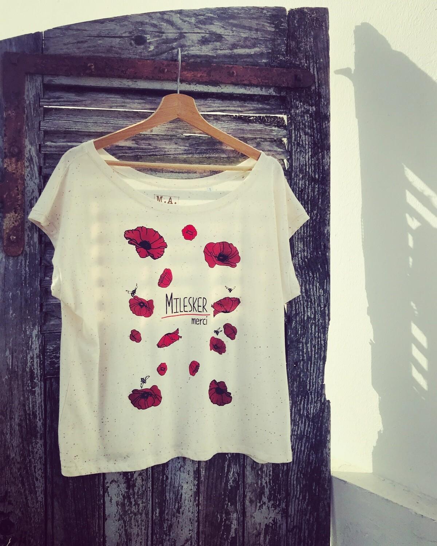 "T-shirt type ""crop top"" Coton Bio - #Milesker/Merci"