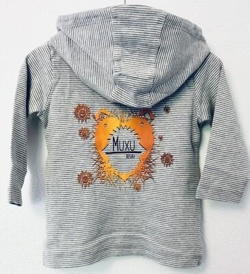 Veste à capuche marinière Bébé- #muxu/bisou