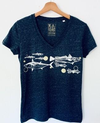 T-shirt col V Coton Bio - #frituredujourbonjour