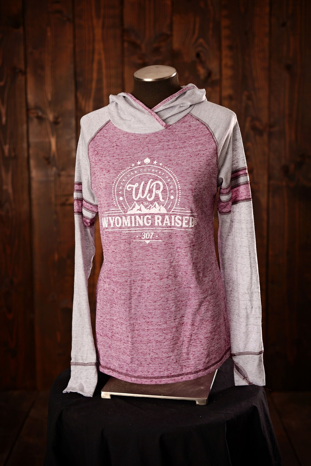 Wyoming Raised Ladies Advocate Hoodie Maroon/ Silver