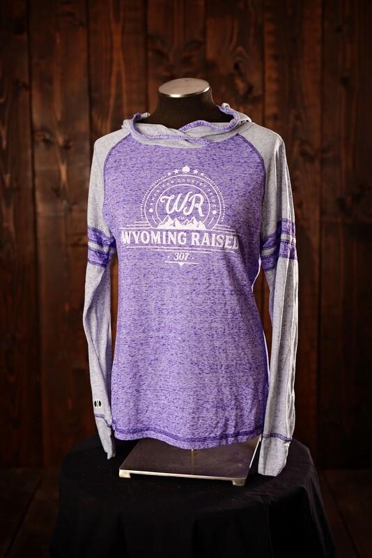 Wyoming Raised Ladies Advocate Hoodie Purple/ Silver
