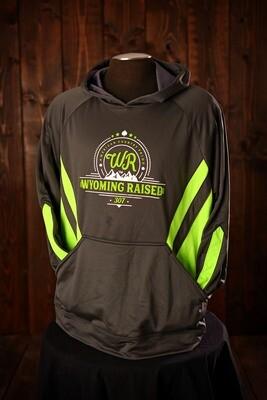 Wyoming Raised Argon Hoodie Gray/Lime Green