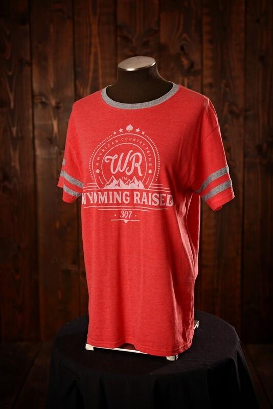 Wyoming Raised Ringer Tshirt Red/ Gray