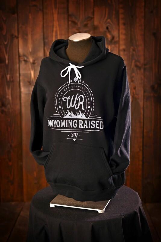 Wyoming Raised Sponge Fleece Hoodie Black