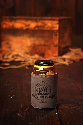 Wyoming Raised Leather Coozies Brown