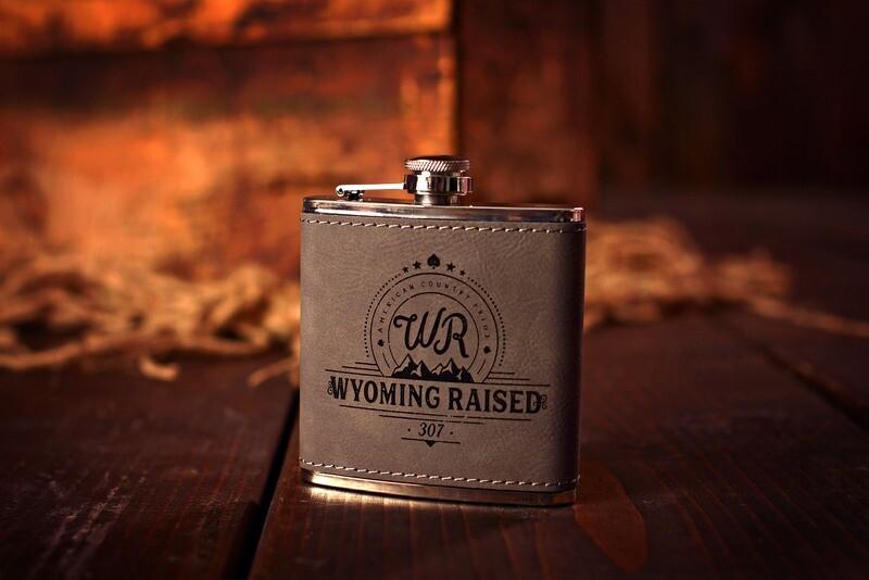 Wyoming Raised Leather Whiskey Flask