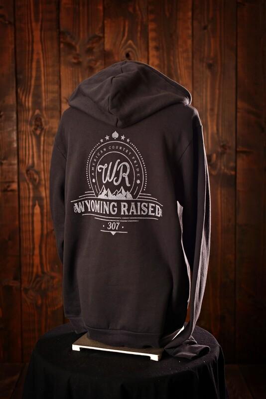 Wyoming Raised Unisex Poly-Cotton Sponge Fleece Full-Zip Hooded