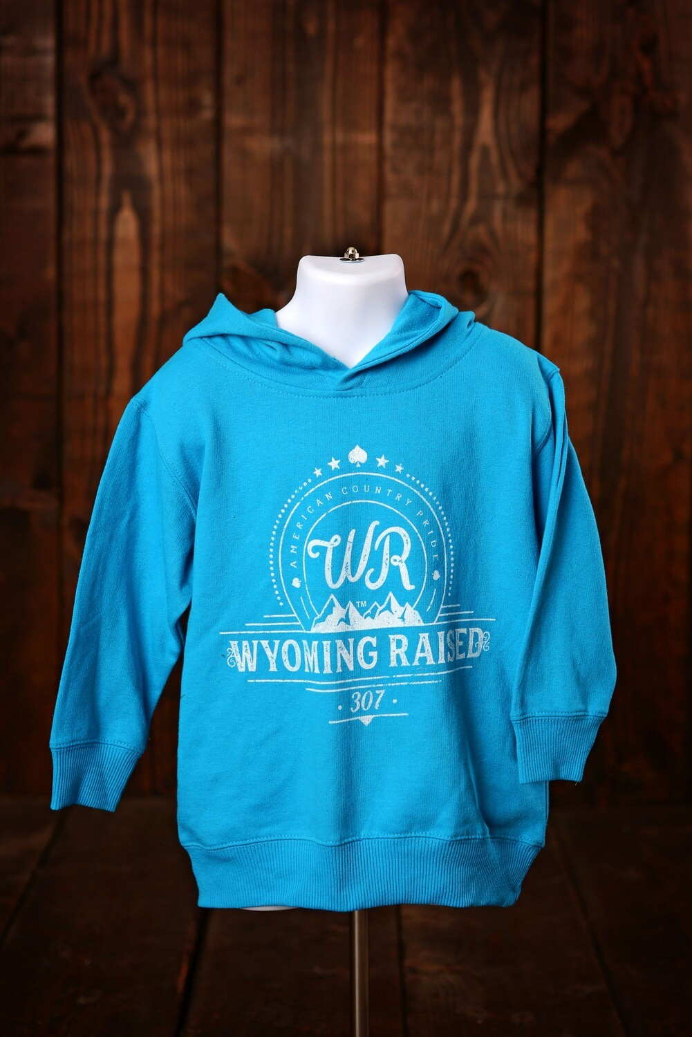 Wyoming Raised Toddler Hoodie -Turquoise