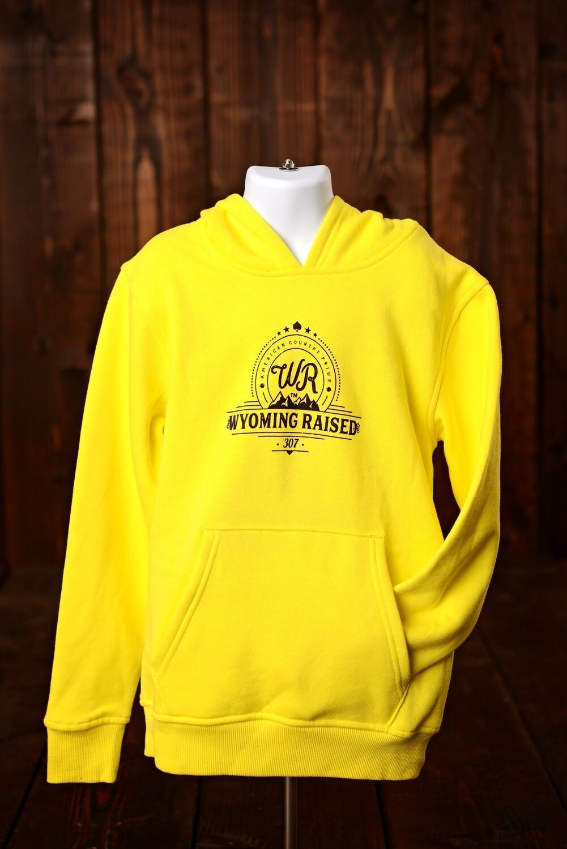 Wyoming Raised Yellow Fleece Hoodie- Youth