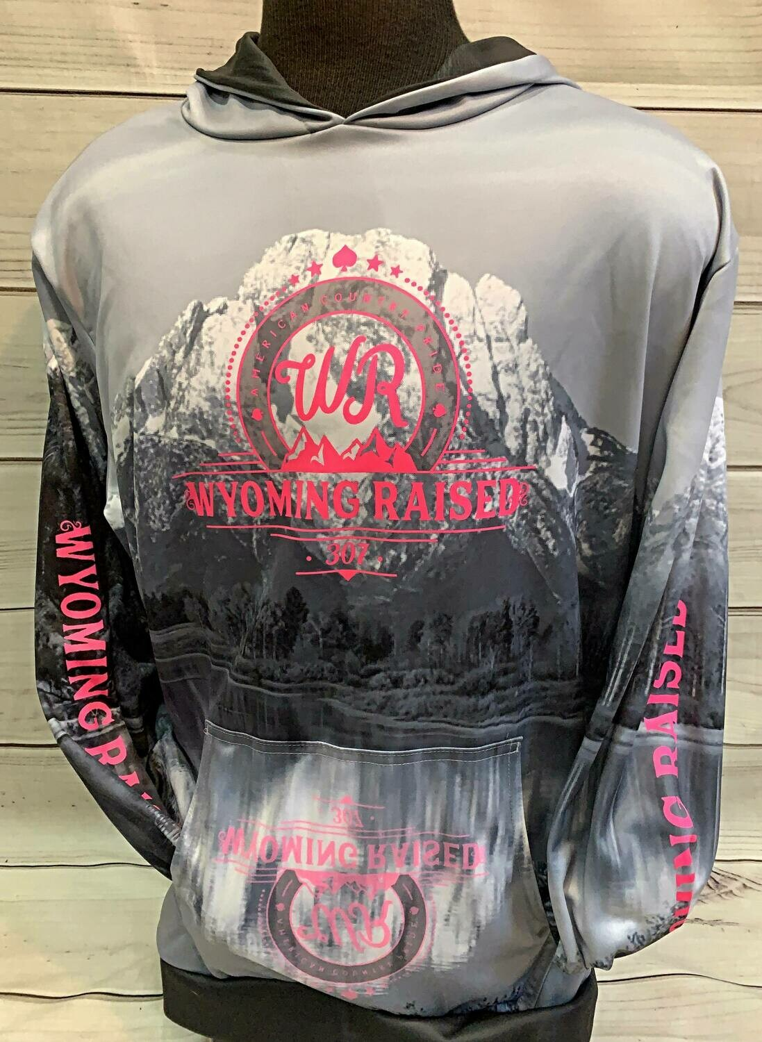 Gray/ Pink Sublimation Hoodie