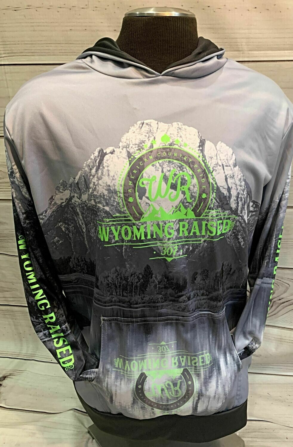Gray/ Lime Sublimation Hoodie