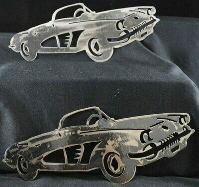 1958 Chevy Corvette 12″ Metal Wall Art Decor