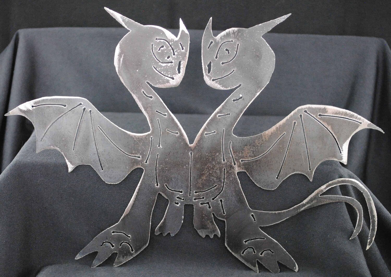 2 Headed Dragon 11 1/2″, Metal Wall Art Decor