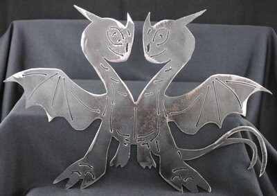 2 Headed Dragon 11 1/2″, Metal Wall Art Decor