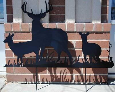 A Family of Deer Metal Yard Art