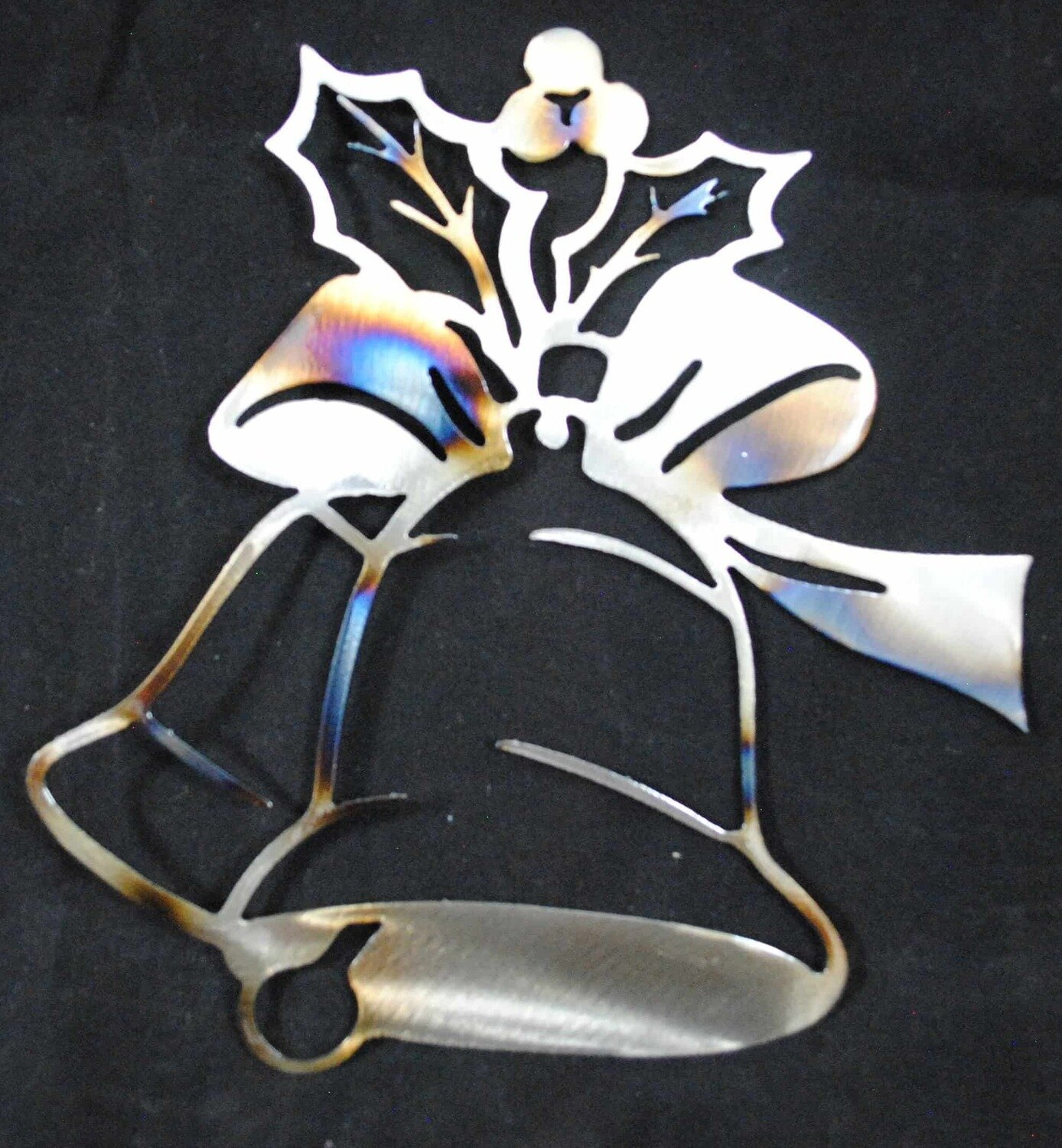 3 Holly Berries with Bow Tie on Big Bell, Metal Wall Art Decor