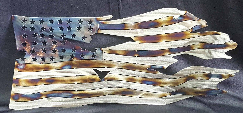 Battle Torn Flag, Metal Wall Art Decor