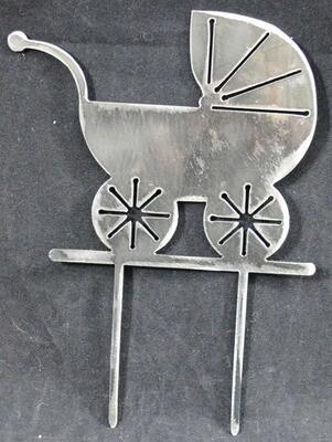 Metal Baby Stroller Cake Topper