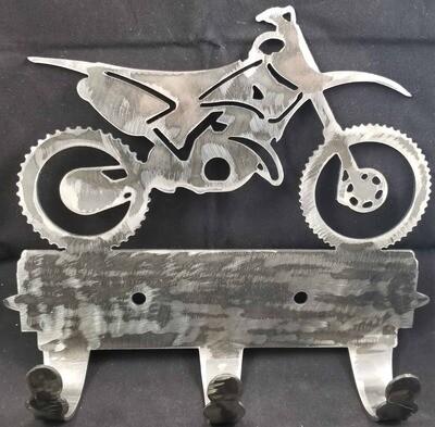 Dirt Bike 3 Hook Metal Coat/Towel Rack