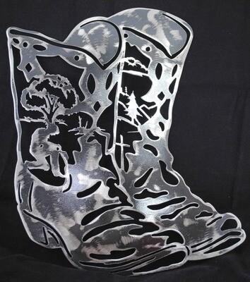 Cowboy Boots Metal Wall Art Decor