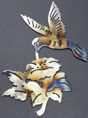 Hummingbird w/ Flower Style 1, Metal Wall Art Decor