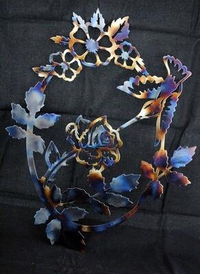 Hummingbird Inside Rose Vine 13″, Metal Wall Art Decor