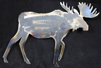 Metal Moose Walking, Wall Art Decor