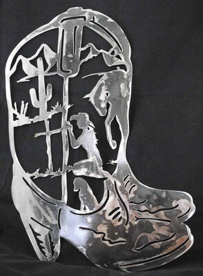 Decorative Cowgirl Boots, Metal Wall Art