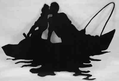 Romantic Boat Ride Kiss, Metal Wall Art Decor