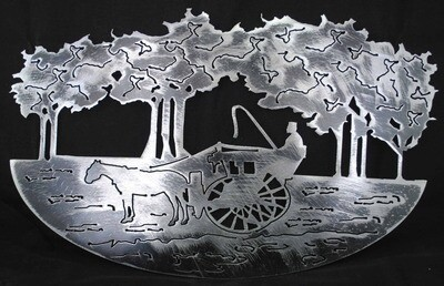 Horse Drawn Carriage cut in, Tress cut out, Metal Wall Art Decor
