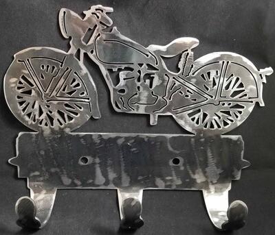 1951 Hummer Style Motorcycle, Metal 3 Hook Coat Rack/Towel Rack