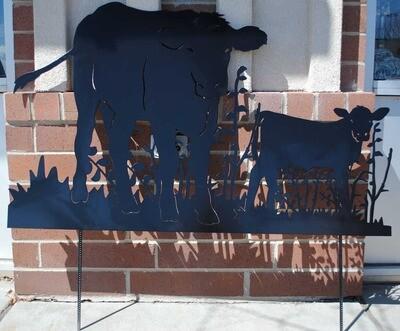 Cow and Calf Metal Yard Art
