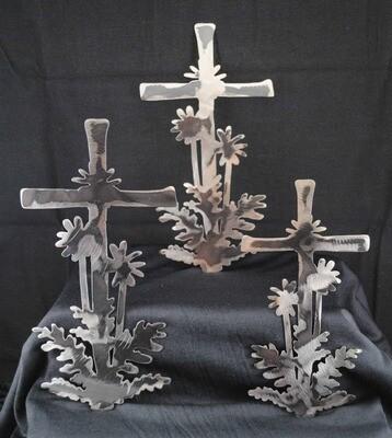 Cross with Palm Trees, Metal Wall Art Decor