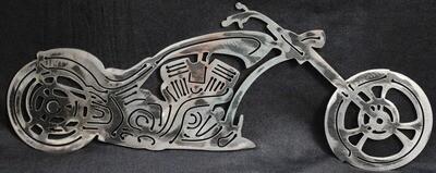 Custom Style Chopper Motorcycle, Metal Wall Art Decor