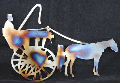 Horse Drawn Carriage w/o Trees, Metal Wall Art Decor