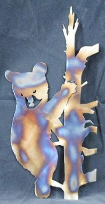 Koala Bear on Bamboo Tree, Metal Wall Art