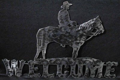 Metal Horse and Rider Welcome Sign Wall Art