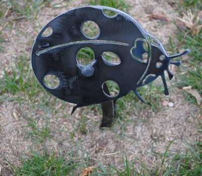Metal Ladybug Garden Decor