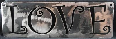 Metal Love Word cut in Wall Art